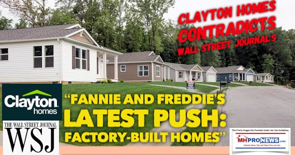 """Clayton Homes Contradicts Wall Street Journal's """"Fannie and"""
