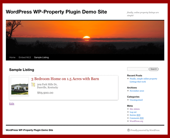 WP-Property sample listings page