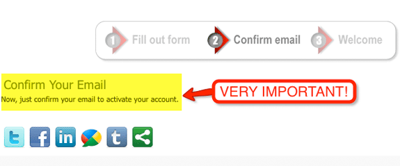 Registration Confirm Screen