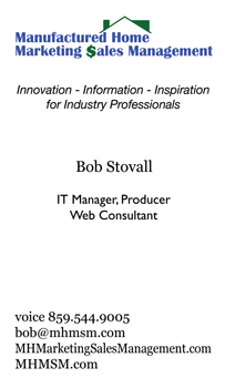 Bob Stovall's MHMSM Business Card front