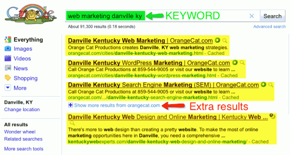 Keyword search for 'web marketing danville ky'