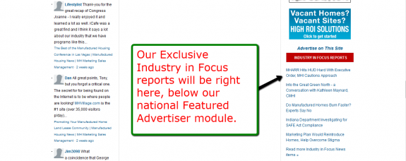 Sign up for our Free --> Industry In Focuse reports. <---  No one else has them, excluisve with MHProNews.com