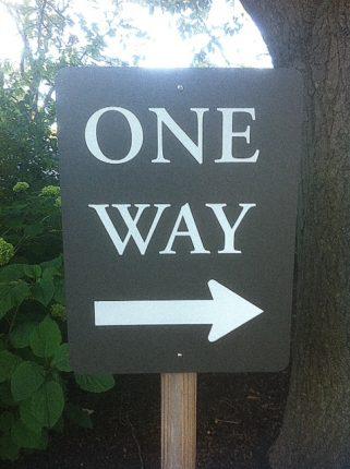 one way sign photo by Tony Kovach