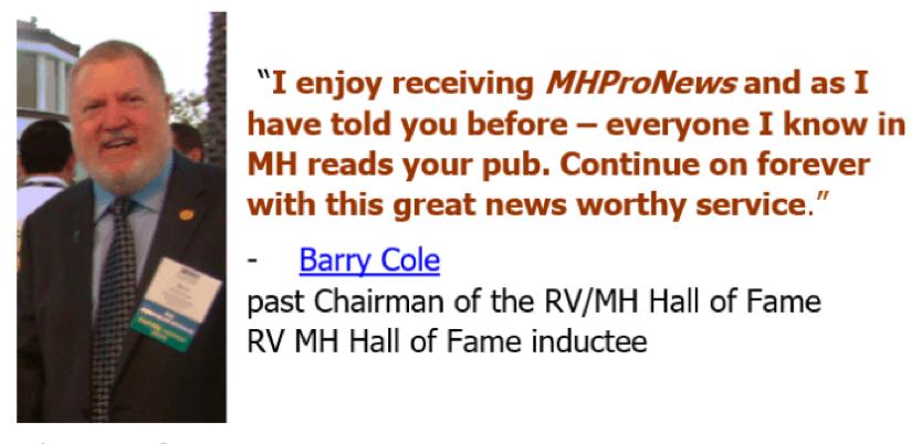 BarryCole-MH-HallofFame-MHProNewsCuttingEdgeManufacturedHomeSalesMarketingManagementConsulting