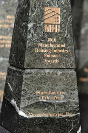 Manufacturer of the Year Award presented to Cavco Industries, Inc. at MHI Congress and Expo 2010, Photo courtesy MHI, Lisa Stewart Photography