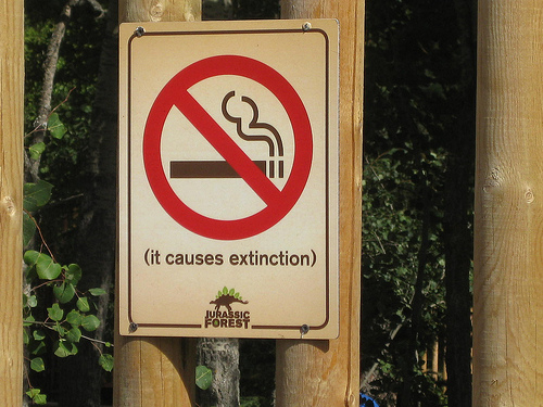 NoSmoking It causes extiction - jurassic forest courtsey of brit Flickr CreativeCommons osted on MHMSM.com and MHProNews.com