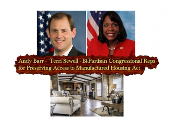 CongresswomanTerriSewell-CongressmanAndyBarr-PreservingAccessToManfuacturedHousingActHr650-S682-SunshineHomes
