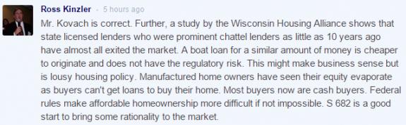 RossKinzler-comment-TheHillCongressionalBlog-RegulationsForManufacturedHomeLoans-posted-mastheadblog-MHProNews-com-