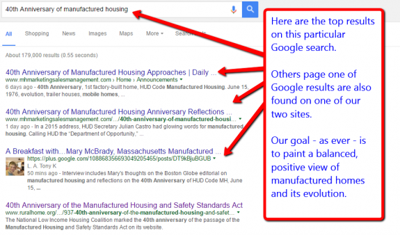 40thAnniversary-manufacturedhomes-GoogleSearchScreenResults-affordablehomes-mobilehome-manufacturedhome-history-mhpronews-com-