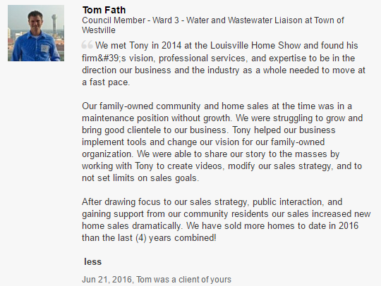 Recommendation delivered via LinkedIn. See http://www.linkedin.com/in/latonykovach Let's note that Tom and the Fath family have done a ton of good work. They were receptive to trying new appraoches, and they embraced them in a positive, professional fashion. Success in any venture that involves multiple people is always a result of good team effort, the Fath family underscores the truth of that statement. The Fath's executed on a good plan! Kudos to them.