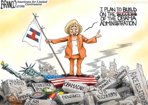 Hillary - Buildling On Obama's Successes political cartoon.