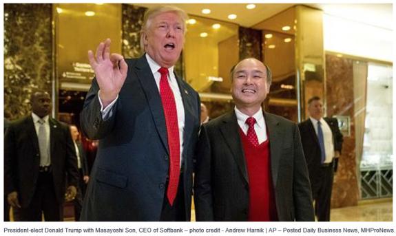 President-electDonaldTrumpMasayoshiSonCEOSoftbank-credit-AndrewHarniAP–PostedDailyBusinessNewsMHProNews.-575x343