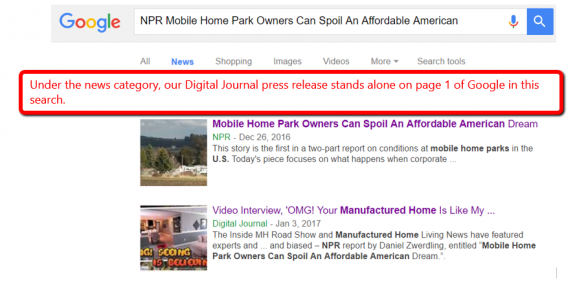 NPR Mobile Home Parks Manufactured Home Masthead Blog Commentary, MHProNews.