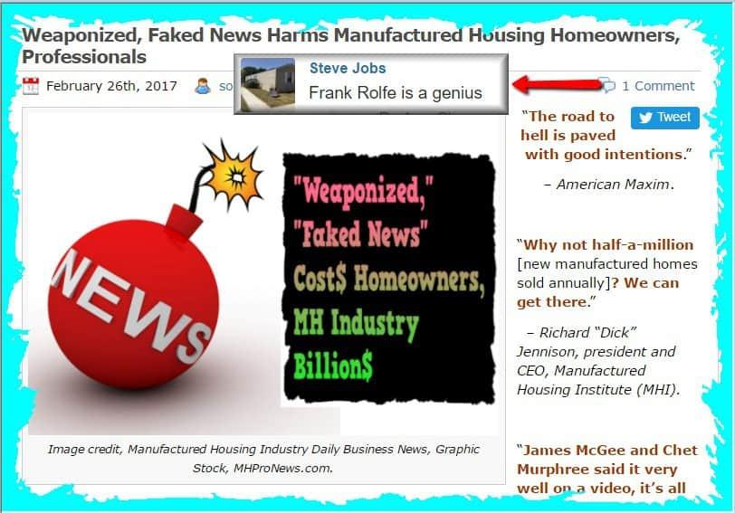WeaponizedFakeNewsHarmsManufacturedHousingHomeownersProfessionalsMastheadIndustryCommentaryMHProNews