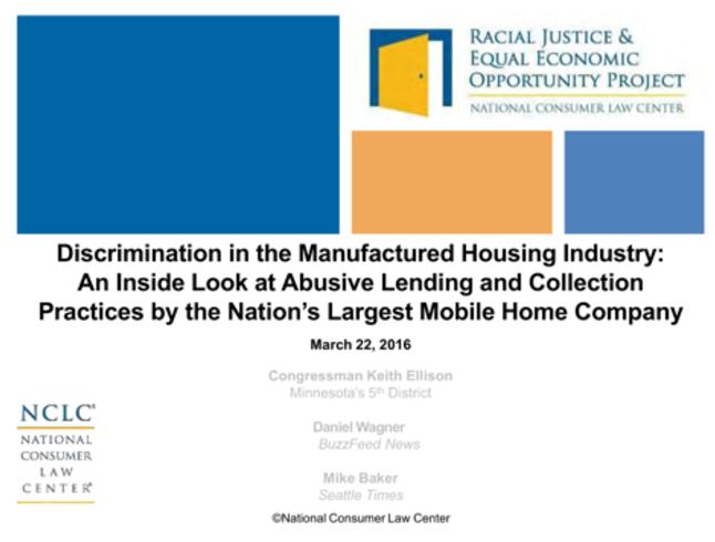 RacialJusticeEqualEconomicOpportunityProjectNationalConsumerLawCenterKeithEllisonD-MN5DanielWagnerBuzzfeedMikeBakerSeattleTimesDiscrminationMHProNews