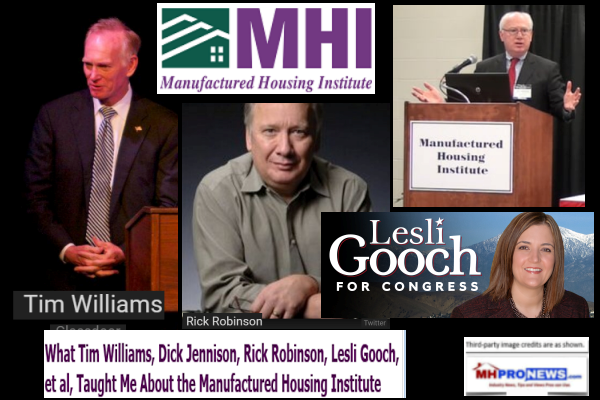 What Tim Williams, Dick Jennison, Rick Robinson, Lesli Gooch, et al, Taught Me About the Manufactured Housing Institute