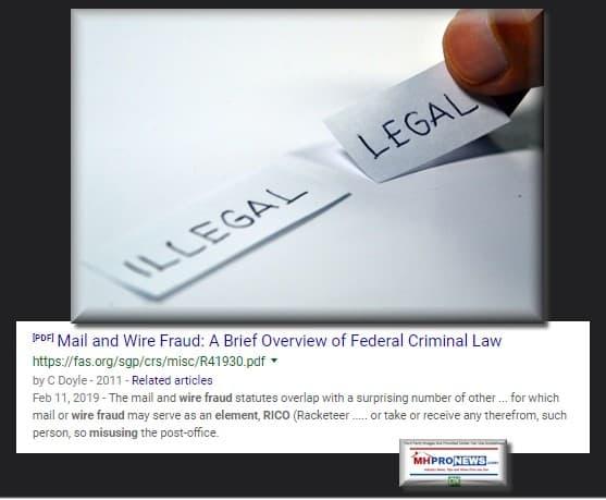 IllegalLegaRICOWireMailFraudManufacturedHousingIndustryMHProNews