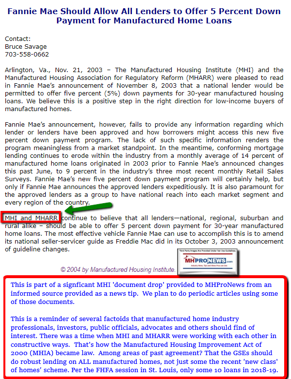 FannieMaeFreddieMac5PercentDownManufacturedHousingInstituteMHARRWorkingTogether2003MHproNews