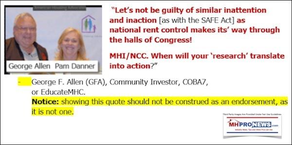GeorgeFAllenQuoteSlamingMHI-NCC-NationalRentControlMHProNews