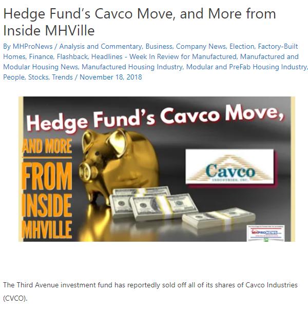 ThirdAvenueHedgeFundSellsCavcoIndustriesManufacturedHomeIndustryMHProNews