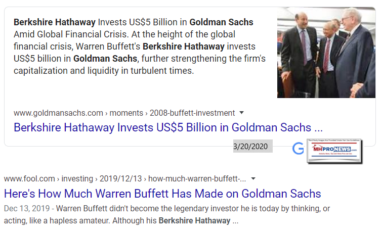 GoldmanSachsWarrenBuffettBerkshireHathawayManufacturedHomeProNews