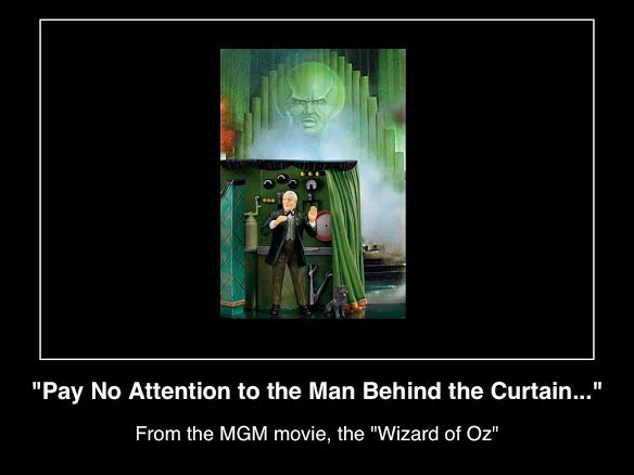 Behind the Curtain Wizard of Oz Pay No Attention to Man