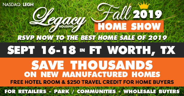Legacy Himes Fort Worth, Texas this September 16-18 manufactured home sale-B