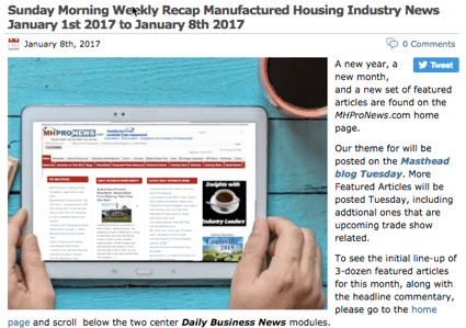 7SundayMorningWeeklyRecapManufacturedHousingIndustryNewsJanuary8th2017toJanuary15th2017-postedtoManufacturedHousingIndustryDailyBusinessNewsMHProNews