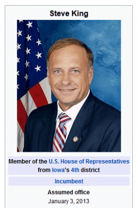 RepSteveKingCreditsWikipediaDailyBusinessNews