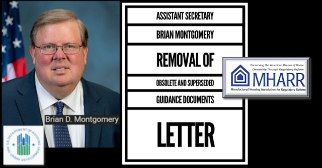 HUDDeputySecretaryBrianDMontgomeryPhotoLetterObsoleteGuidanceDocumentsManufacturedHousingAssociationRegulatoryReform