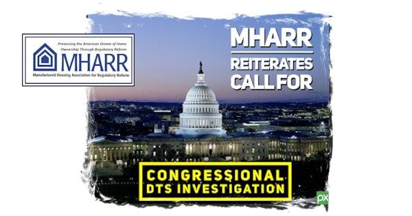 MHARRReiteratesCallForCongressionalDTSInvestigationManufacturedHousingAssocRegulatoryReformLogo
