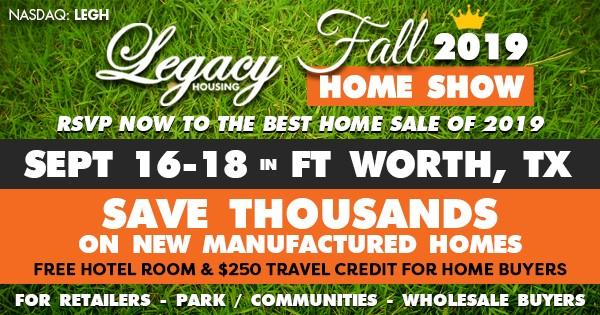 Fort Worth, Texas this September 16-18 manufactured home sale-B