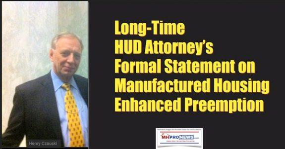 LongTimeHUDAttorneysFormalStatementonManufacturedHousingEnhancedPreemptionManufacturedHomeProNews