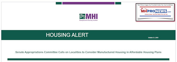 Programing Notice: the Arlington, VA based Manufactured Housing Institute (MHI) is in flux, as some upcoming reports will reflect. That noted, yesterday MHI sent out the following to their members.
