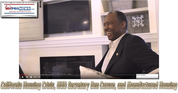 California Housing Crisis, HUD Secretary Ben Carson, and Manufactured Housing