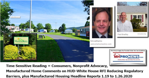 TimeSensitiveConsumersNonprofitAdvocacyManufacturedHomeCommentsHUDWhiteHouseRFIReducingRegulatoryBarriersManufacturedHousingHeadlineReports1.19to1.26.2020