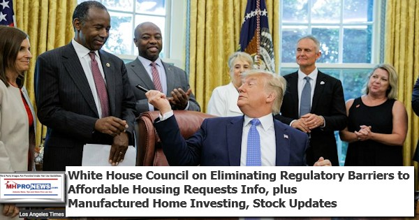 WhiteHouseCouncilEliminatingRegulatoryBarriersAffordableHousingRequestsInfoManufacturedHomeInvestingStockUpdates