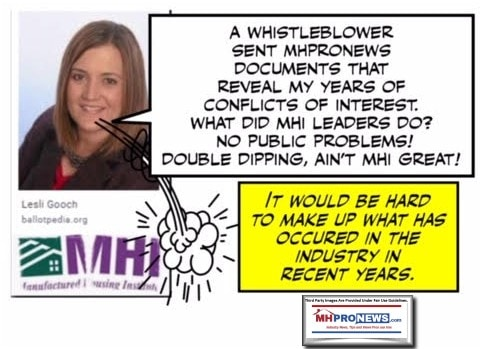 WhistleblowerLesliGoochCEOManufacturedHousingInstituteBrokenLogoCartoonSatireManufacturedHomeProNewsSatireCartoon
