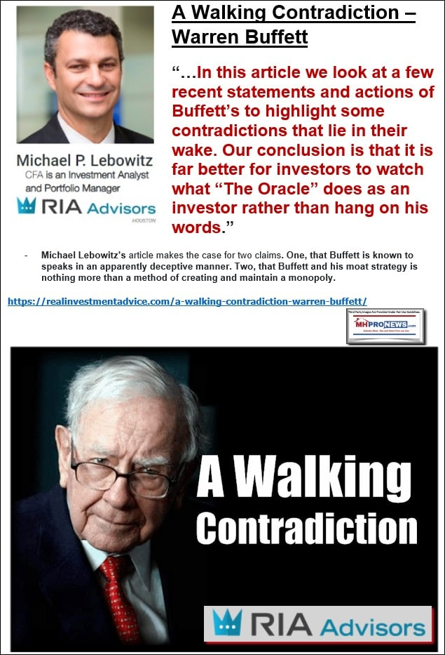 MichaelLebowitzCFAPhotoRIALogoWalkingContradictionWarrenBuffettDontTrustHisWordsWatchHisBehaviorManufacturedHomeProNews