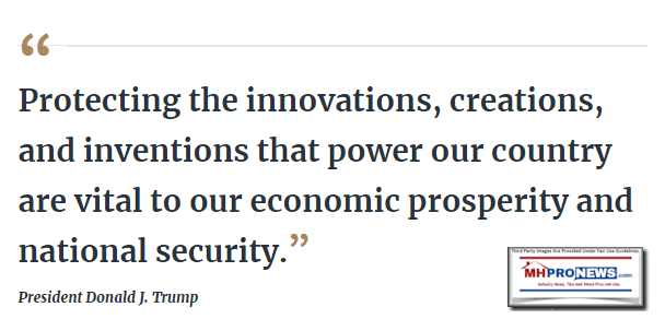 ProtectingInnovationsCreationsInventionsPowerCountryVitalEconomicProsperityNationalSecurityQuotePresidentDonaldJTrumpMHProNewsLogo
