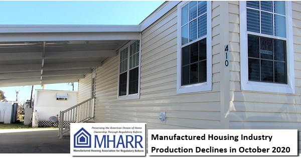 ManufacturedHousingIndustryProductionDeclinesOctober2020ManufacturedHousingAssociationForRegulatoryReformLogoMHARRlogo