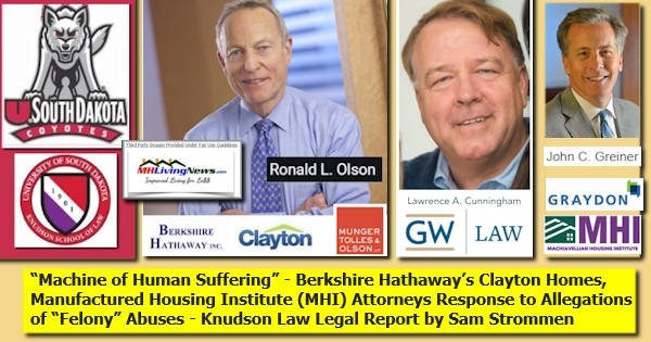 MachineHumanSufferingBerkshireClaytonLOGOManufacturedHousingInstRonOlsonLawrenceCunninghamJohnGreinerResponseMTOGWUGraydonLawLogosAllegationsFelonyAbusesKnudsonLawReportStrommen