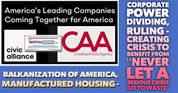 CivicAllianceCAALogosBalkanizationAmericaManufacturedHousingCorporatePowerDividingRulingCreatingCrisisBenefitFromNeverLetSeriousCrisisGoToWasteQuoteMHProNews